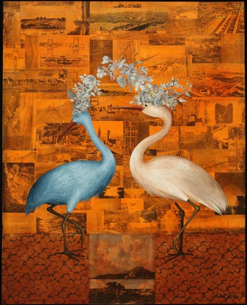 Courting, Oil on Canvas with Collage, Private Collection, Sonoma, CA