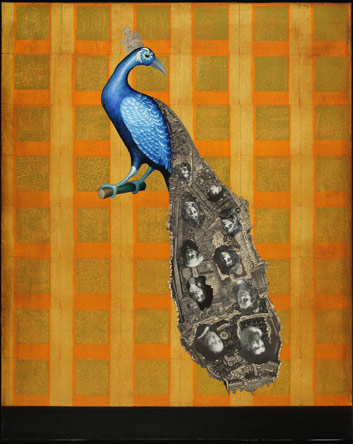 Piano Peacock, Oil on Canvas with Collage, Private Collection, Sonoma, CA