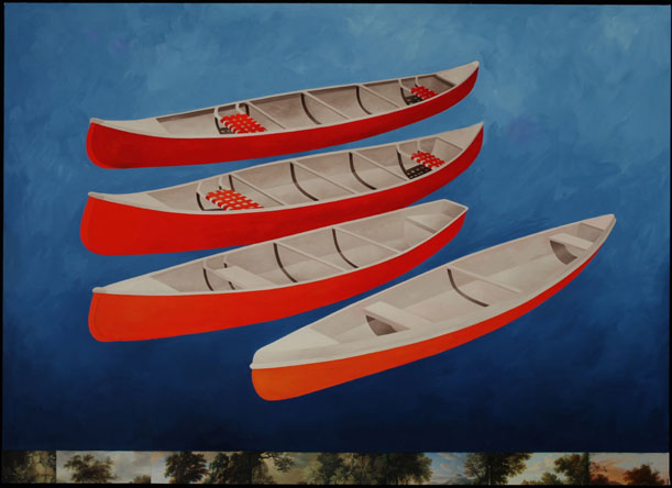 Floating Canoes, Oil on Canvas/Collage,
