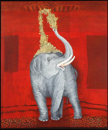 Industrious Elephant, Oil on Canvas/Collage