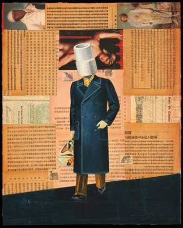 Business Man, Oil on Paper with Collage