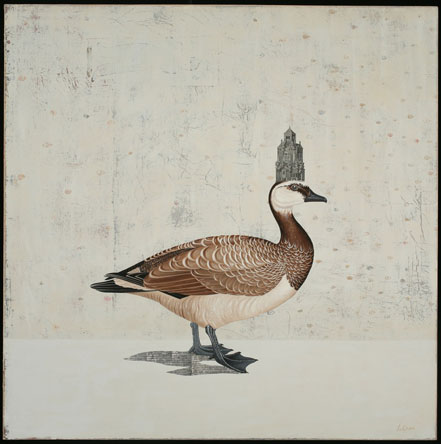 Arctic Goose, Oil on Canvas/Collage