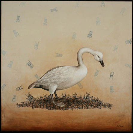 Whopper Swan, Oil on Canvas with Collage