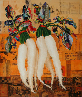 "Dancing Daikon"", Oil/Canvas with Collage, William Simon and Carmen Chang, Palo Alto, CA"