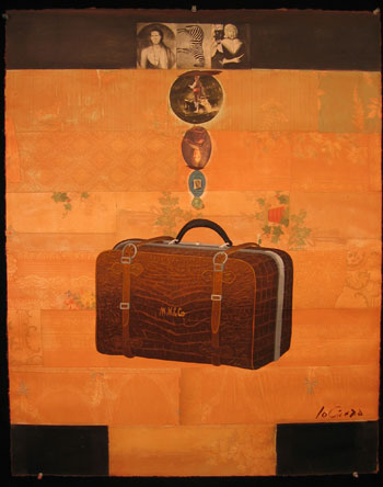 M and M Suitcase, Oil on Paper with Collage