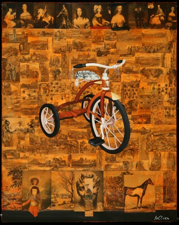 History Bike, Oil on Paper with Collage