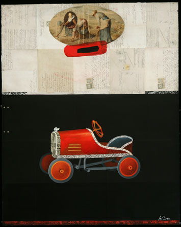 Oil Car, Oil on Paper with Collage