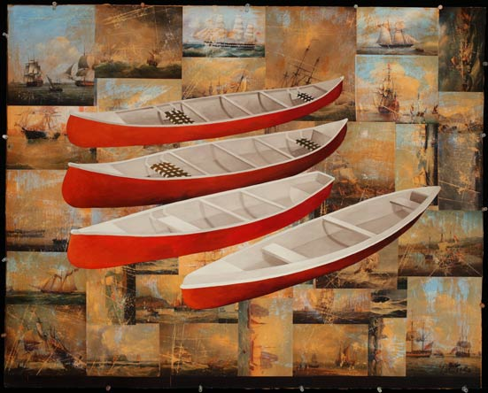 Canoes, Oil on Paper with Collage
